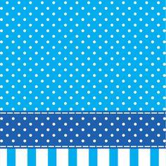 Papel De Parede Bolinhas Brancas Sobre Tons de Azul Alternadas com Listras Azuis Sobre Branco