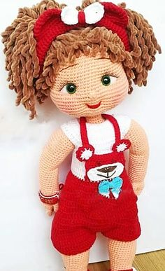 Amigurumi doll with red dress pattern idea. Here you can find easy amigurumi ideas for beginners. Best Amigurumi free pattern animals, dolls, super heroes, ca Crochet Dolls Free Patterns, Crochet Doll Pattern, Doll Patterns, Pattern Ideas, Amigurumi Patterns, Cute Crochet, Crochet Toys, Crochet Baby, Amigurumi Toys
