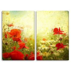 Gallery Direct Vintage Poppies Diptych Canvas Art | Overstock.com Shopping - The Best Deals on Gallery Wrapped Canvas