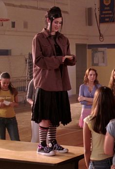 """And, for edgier individuals, this Converse and stripy socks combination. 20 Outfits From """"Mean Girls"""" That No One Would Ever Wear Now Grunge Outfits, Fashion Outfits, Looks Cool, Looks Style, My Style, Alternative Outfits, Alternative Fashion, Mean Girls Janis, Janice Mean Girls"""