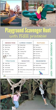 FREE printable Playground Scavenger Hunt Game for toddlers, preschoolers, kindergarten and elementary kids! Great outdoor & large motor activities that inspire kids to get active! Outdoor Games For Toddlers, Water Games For Kids, Printable Activities For Kids, Summer Activities, Motor Activities, Outdoor Activities, Nutrition Activities, Family Activities, Free Printables