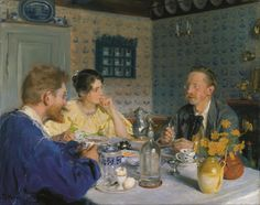 A breakfast. The artist, his wife and the writer Otto Benzon - Peder Severin Kroyer 1893