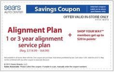 Sears Alignment Service Plan Coupon for July 2013