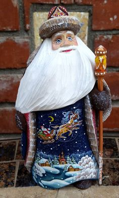 Santa Claus on His Way. Hand Carved and Hand Painted. Russia.