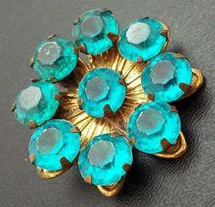 Vintage Art Deco Brooch Pin Aqua Blue Teal Green Rhinestones Layered Gold Metal 1 3/4 VG via Etsy