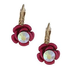 Betsey Johnson Pink Flower Earrings