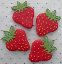 The Purple Frog Cookie Collection - 'Tutti Frutti'  - Strawberries Iced Cookies from the The Purple Frog Bakery.