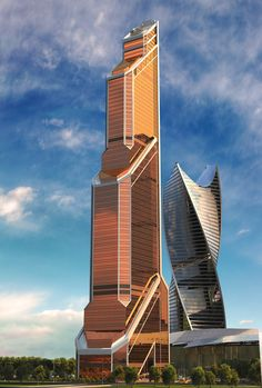 Copper facade of Mercury City Tower, Moscow. Unusual Buildings, Interesting Buildings, Amazing Buildings, Modern Buildings, Futuristic Architecture, Contemporary Architecture, Art And Architecture, Contemporary Building, Contemporary Stairs