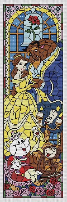 Disney cross stitch pattern Beauty and the Beast. Stained glass collection. Cross stitch pattern in PDF. NOT A PHYSICAL PRODUCT! __________________________________________________________________________________ BUY 2 PATTERNS AND GET 1 FREE! How: Buy 2 patterns and send me link of 3 in