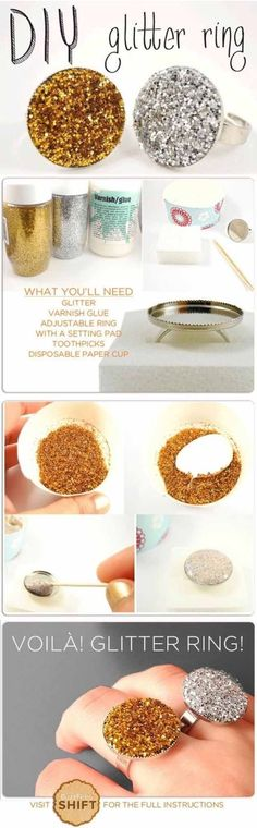 Cool Crafts You Can Make for Less than 5 Dollars | Cheap DIY Projects Ideas for Teens, Tweens, Kids and Adults | DIY Glitter Rings | http://diyprojectsforteens.com/cheap-diy-ideas-for-teens/