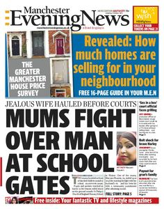 Saturday's Manchester Evening News front page - south edition