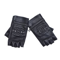 Chanel New Black Lambskin Fingerless  Gloves | From a collection of rare vintage gloves at https://www.1stdibs.com/fashion/accessories/gloves/★ DiamondB! Pinned ★