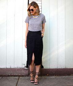 look saia fenda blusa street style
