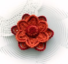 HAND CROCHET CORSAGE BROOCH APPLIQUE BURNT ORANGE FLOWER | eBay