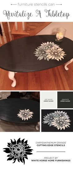 A DIY stenciled furniture makeover using the Chrysanthemum Grande Flower Stencils from Cutting Edge Stencils. http://www.cuttingedgestencils.com/flower-stencil-4.html