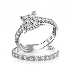 Bling Jewelry Princess Cut CZ 925 Silver Criss Cross Engagement Wedding Ring Set