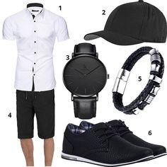 Schwarz-Weißes Herren-Outfit mit Lederschuhen (m0382) #outfit #style #fashion #menswear #mensfashion #inspiration #shirts #cloth #clothing #männermode #herrenmode #shirt #mode #styling #sneaker