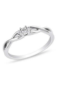 0.07CT Diamond Engagement Ring In 10k White Gold... Thin band, small stone. Yes. Might be a little strange with a wedding band, though...