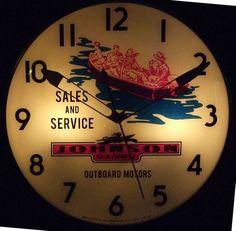 "Johnson Sea-Horse Outboard Motors Clock (Vintage Pam Lighted Clock, ""Sales & Service"", Antique Advertising Clocks)"