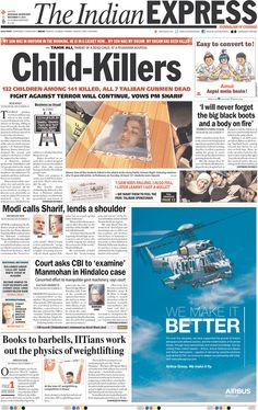 Today's Front Pages | Newseum - The Indian Express on Peshawar attack