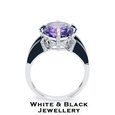 Ametiszt, gyémánt és onix drágakövekkel díszített egyedi fehérarany gyűrű - White gold ring with amethyst, onyx and diamonds
