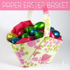 "Easy paper easter basket tutorial. Baskwt using 2"" squares are perfect for an egg & some candy, esp. an egg, a choc creme egg & some jelly beans.  1-12x12 catdstock = 4 baskets, but need 2nd pc for the handles to match."