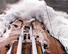 Waves breaking over the bow of the battleship USS Texas, circa 1941.
