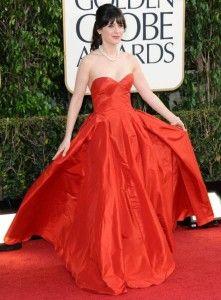 zooey deschanel in red gown