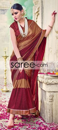 Maroon and Golden Lycra Saree with Lace