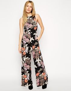 ASOS Wide Leg Jumpsuit In Floral Print With Cut Out - looks so uber comfy!