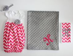 Newborn Gift Set - Going Home Outfit - Gown - Baby Layette - Pink Chevron - Grey - Baby Shower Gift - Keepsake - Blanket -  Burp Cloth