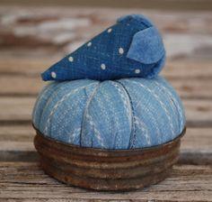 Early Blue Calico Pin Cushion Antique Textile Primitive Display Mason Jar Lid | eBay