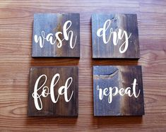 4 piece laundry room sign set wash dry fold repeat signs, rustic signs, farmhouse sign  #Promotion… #PaidAd #ad #affiliatelink