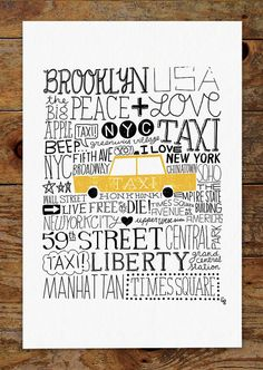 11x14 New York City Taxi, Hand Lettering Art Print