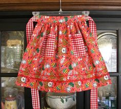 Retro red kitchen cherries half apron