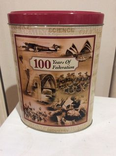 Biscuit Tin 100 Years Of Federation Used Approx 15 Years Old Clarkes Cookie Comp