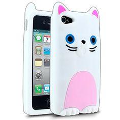 Barnimals Collection Feline Fine Silicone Case for Apple iPhone 4/4S - White