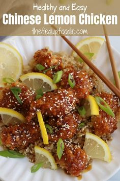 This Chinese Lemon Chicken recipe is easy to make at home and so much better than takeout! The chicken is baked with a light and crispy coating and then covered in a delicious tangy and savory honey lemon and garlic sauce. Oh so tasty! #StickyLemonChicken #LemonChicken #BakedChineseLemonChicken #ChineseLemonChickenRecipe #AsianLemonChicken #ChineseLemonHoneyChicken #ChineseLemonSauce #ChineseLemonChickenHealthy Sticky Lemon Chicken, Lemon Sauce For Chicken, Chinese Lemon Chicken, Lemon Garlic Pasta, Honey Chicken, Baked Chicken, Garlic Sauce, Organic Recipes, Indian Food Recipes