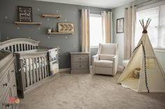 Tribal Aztec gender neutral nursery with Babyletto Electric Reclining Glider #brittanybrownphoto