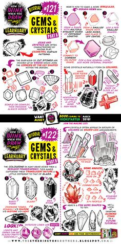 How to draw GEMS and CRYSTALS tutorial by STUDIOBLINKTWICE.deviantart.com on @DeviantArt
