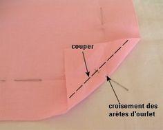 Couper un triangle de tissu en laissant 0,5cm. :
