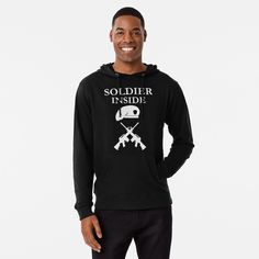 'Soldier Inside - ready for war - ' Lightweight Hoodie by RIVEofficial Hip Hop, Daddy Bear, Text Design, Graphic Sweatshirt, T Shirt, French Terry, Tshirt Colors, Female Models, Adidas Jacket