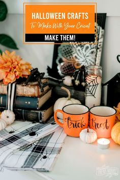 Use your Cricut and some inexpensive dollar store supplies to make these slightly spooky and oh-so-glam DIY decorations for Halloween! Halloween Dishes, Halloween Displays, Diy Halloween Decorations, Halloween Fotos, Halloween Crafts, Halloween Ideas, Fall Halloween, Halloween Chalkboard, Halloween Photography