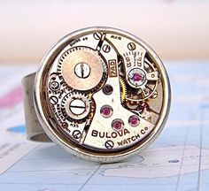 Steampunk Ring - Adjustable Silver Plated Wide Band with Vintage Round Watch Movement - Perfect Unisex Christmas Gift