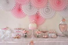 Gorgeous pink ballerina dessert table;; love the background!