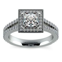 Princess Split Shank Pave Halo Diamond Engagement Ring in Platinum www.brilliance.com