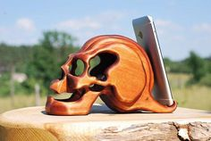 gothic gift for him docking station wood skull lovers gift for her goth skeleton phone stand iphone wooden tablet stand ipad holder Skull Decor, Skull Art, Gift For Lover, Lovers Gift, Iphone S6 Plus, Desk Phone Holder, Iphone Holder, Corpus, Iphone Stand