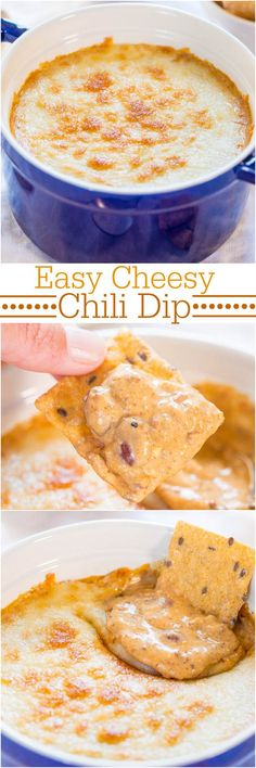Easy Cheesy Chili Dip - Just a few ingredients and 5 mins is all you need for this super easy dip packed with flavor! And CHEESE! So good!!! Dip Recipes, Snack Recipes, Cooking Recipes, Snacks, Crockpot Recipes, Party Recipes, Dinner Recipes, Appetizer Dips, Appetizer Recipes