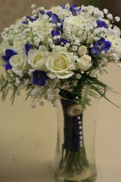 Roses and delphinium bridal bouquet