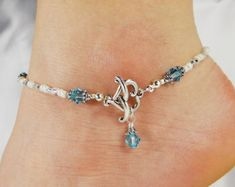 Anklet Ankle Bracelet Turquoise Blue Green by ABeadApartJewelry